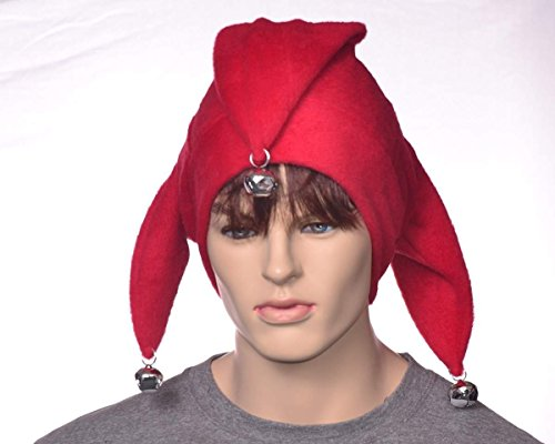 Solid Red Jester Hat with Bells Made of (Renaissance Juggler Costume)