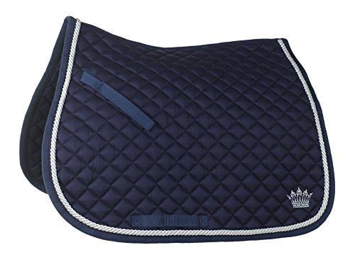 Nylon All Purpose Saddle - Horze Anti Slip Fit Silver Cord Saddle Pad , All Purpose Full Dark Blue