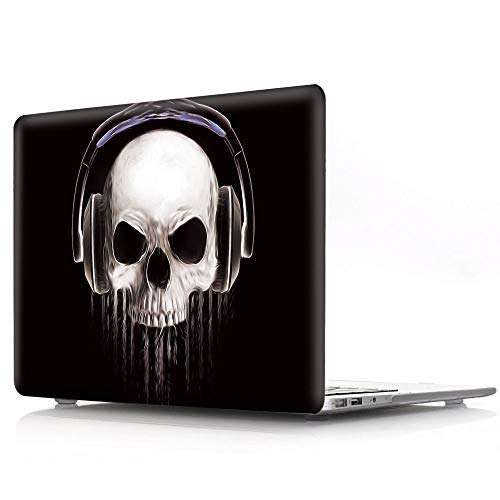 HRH Halloween Music Skull Design Laptop Body Shell Protective Hard Case for MacBook Newest Air 13