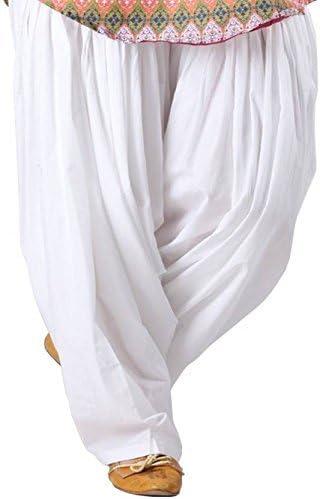Monique Solid 100% Pure Cotton Patiala Salwar White