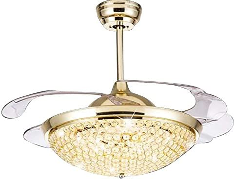 42 Round Crystal Bowl Ceiling Fan Light 4 Invisible Retractable Blades 3 Color Dimmable Fan Chandelier with 32W Led Light Kits Gold