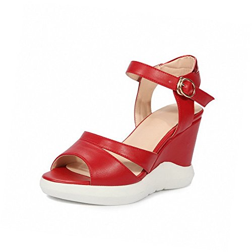AllhqFashion Women's Solid PU High Heels Open Toe Metal Sandals Red KPIopo