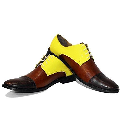 Vachette Cuir Italiennes Chaussures Modello Toto Handmade De Lacer Hommes Pour Des Jaune Souple Oxfords gtqxP