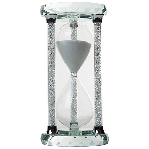 IFOLAINA Crystal Hourglass Round Multi-faceted Base Diamonds Column White Sand Timer Multiple Time Available