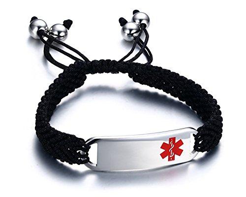 Free-Engraving Handmade Braided Black String Pull Cord Macrame Stainless Steel Medical Alert ID Tag Bracelets for Men (Medical Alert Heart)