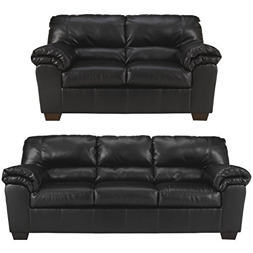 Flash Furniture Signature Design by Ashley Commando Living Room Set in Black Leather