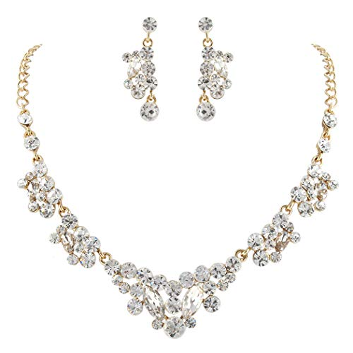 Tone Gold Jewelry Rhinestone Set - Flyonce Women Fashion Austrian Crystal Wedding Bridal Earrings Necklace Sets for Banquet Party Clear Gold-Tone