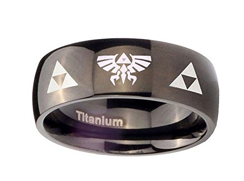 The Legend of Zelda Stainless Steel Triforce Costume Ring Black (8) (Legend Of Zelda Mens Ring)