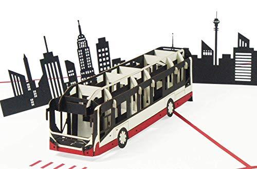41MJQMIL6XL Bus Pop Up Karte Geburtstagskarte Glückwunschkarte Geburtstag Städtereisen Gutschein Stadtrundfahrt - Reisebus 194