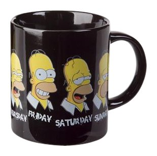 Taza para el desayuno con diseño de Homer y los días de la semana en inglés