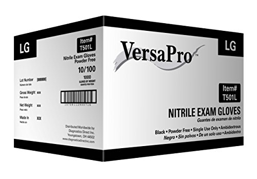 VersaPro Black Nitrile Exam Gloves, Heavy Duty, Powder Free (Large 1000/case) by Diagnostics Direct, Inc.