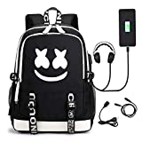 HIbuy DJ Luminous Backpacks Laptop Backpack with USB Charging Port Smile Face School