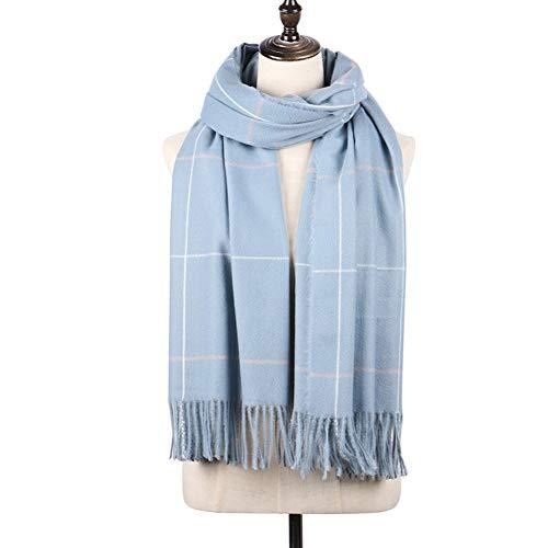Cashmere Ribbed Scarf (Longwu Women Soft Cashmere Wool Scarf Large Pashminas Shawl and Wrap Warm Stole Blanket-Lake Blue)