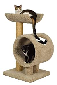 """Molly and Friends """"Loft and Round"""" Premium Handmade 2-Tier Cat Tree with Sisal, Model 34, Beige"""