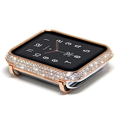 (Coobes Compatible with Apple Watch Case 38mm 42mm, Metal Bumper Protective Cover Women Bling Diamond Crystal Rhinestone Shiny Compatible iWatch Series 3/2/1 (Diamond-Upgraded Rose Gold S3/2/1, 38mm))