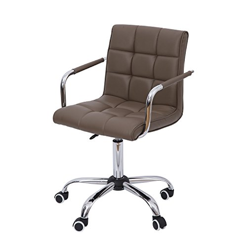 HOMCOM Modern Tufted PU Leather Midback Home Office Chair with Lumbar Support – Brown