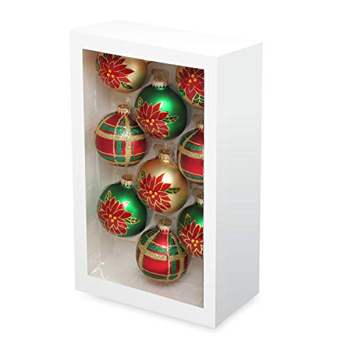 Costyleen Christmas Decoration Colorful Glass Balls Ornaments Set Festival Home Party Decors Xmas Tree Hanging Pendant Red Flowers Patterns 9pc Green Gold 2.7in