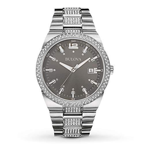 (Bulova Mens 96B221 Quartz Crystal Accents Silver Tone 43mm Watch (Renewed))