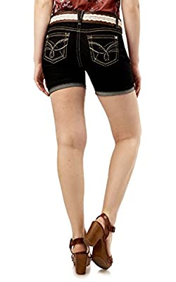 WallFlower Juniors Belted Legendary Mid Thigh Denim Shorts