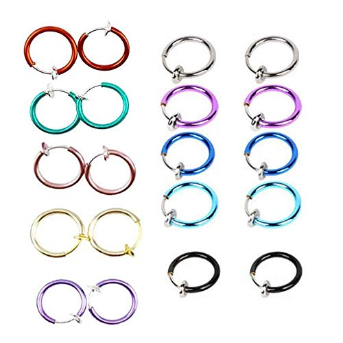 yueton 10 Pairs Non - Piercing Fake Spring Septum Nose Lips Ear Ring Hoop Clip On ()