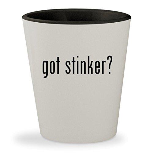 got stinker? - White Outer & Black Inner Ceramic 1.5oz Shot Glass (Stinker Game Lil)