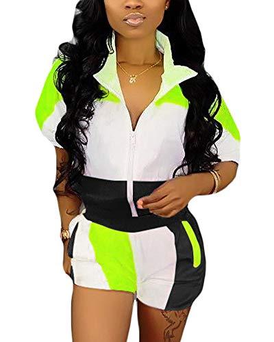 2 Piece Outfits Tracksuit Short Sleeve Deep V Neck Zipper Bodycon Jumpsuit Short Pants Set Black L