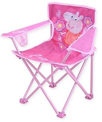 .Peppa Pig. Kids Indoor Outdoor Girly in Pink Folding Camping Chair, Includes Carry Bag For Travel, Perfect For Sports Events and Camping Trips! Measures 13.8'' W x 13.8'' L x 21.6'' H