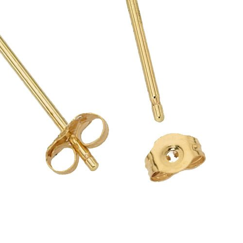 Wellingsale 14K Yellow Gold Polished 7mm Princess Solitaire Basket Style Prong Set Stud Earrings With Pushback