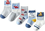 Happy Cherry 5 Pairs Baby boys Girls Cotton Socks Kids Ankle Socks Cute Cartoon Pattern 1-12 Yesrs