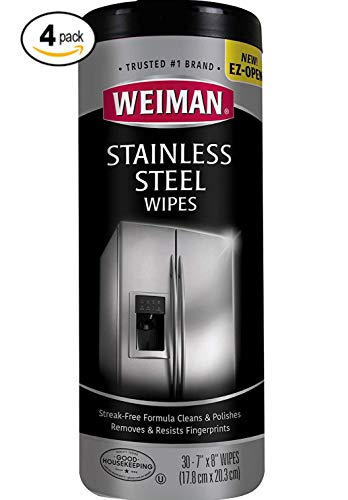 Weiman Stainless Steel Cleaning Wipes Removes Fingerprints, Residue, Water Marks and Grease from Appliances - Works Great on Refrigerators, Dishwashers, Ovens, Grills and More, [2 Pack] by Weiman (Image #1)