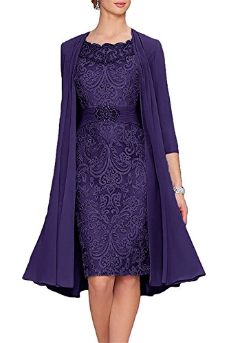 APXPF Women's Tea Length Mother Of The Bride Dresses Two Pieces With Jacket Purple US14