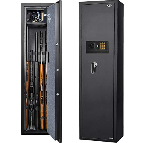 Moutec Electronic Rifle Safe, Quick Access 5-Gun Large Metal Rifle Gun Security Cabinet (with/Without Scope) with Separate Pistol/Handgun Lock Box