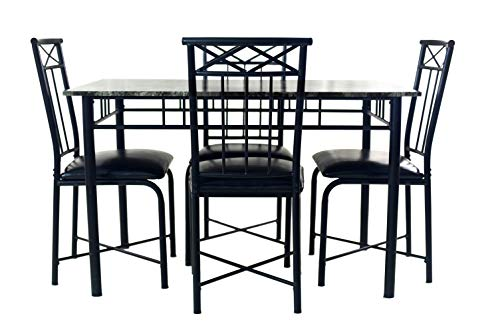 NBLiner Contemporary Style 5 Piece Casual Dining Set with Rectangular Faux Marble Table Top and 4 Cushioned Black Chairs