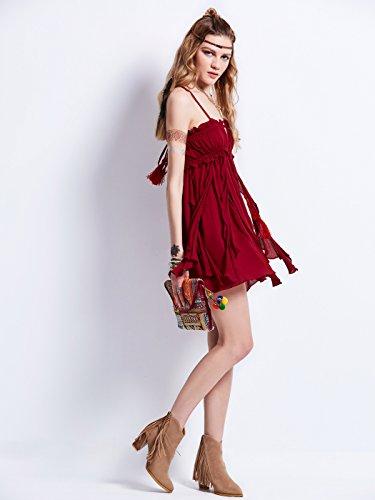 MicBridal® Sommerkleider Damen Baumwolle Boho Ärmellos V-Ausschnitt Strandkleider Knielang Urlaubkleider Rot
