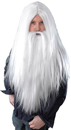 Merlin Gandalf Dumbledore Magician Fancy Party Long White Wizard Wig & Beard Set (Merlin Wig And Beard Set)