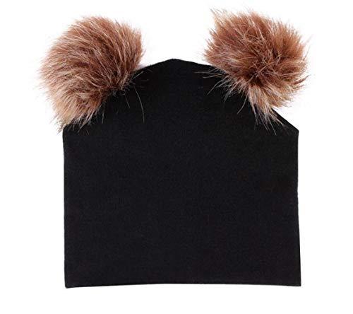 5de4fc15 TUSFTAY Baby Boy Girls Double Faux Fur Pom Bobble Beanie Cap Winter Hat  (Black)