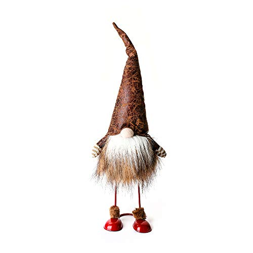 ITOMTE Handmade Swedish Tomte, Santa - Standing Figurines Leather Gnome with Spring - Nordic Elf Figurine Father's Day Gnome Gifts, Winter Table Ornament Decoration - Leather