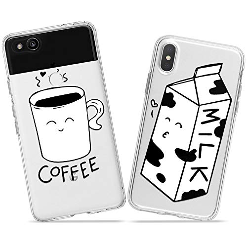 (Wonder Wild Coffee and Milk Couple Case iPhone Xs Max X Xr 10 8 Plus 7 6s 6 SE 5s 5 TPU Clear Gift Apple Phone Cover Print Protective Double)