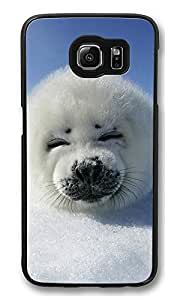 S6 Case, Baby Seal Ultra Fit Black Bumper Shockproof Case For Galaxy S6 Customizable Hard PC Samsung Galaxy S6
