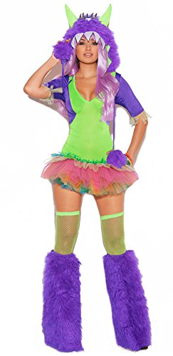 Green Purple One Eyed Monster Halloween Costume One Size M-L -