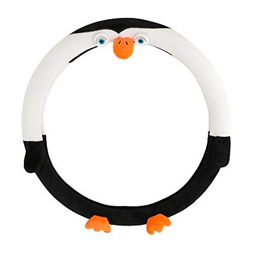 LJIS Universal Car Styling Bow Car Penguin Steering Wheel Cover Cute Cartoon Interior Accessories Set Women/Man Girls car Covers