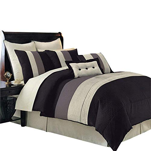 Olympic Comforters Queen - 8PC Hudson Olympic Queen size comforter set includes Comforter, bed skirt, pillow shams, decorative pillows (Black)