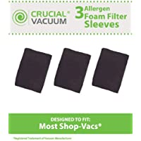 3 Replacements for Shop-Vac Foam Filter Sleeve Fits 5-Gallon & Up Wet & Dry Vacs, Compatible With Part # 9058500, by Think Crucial