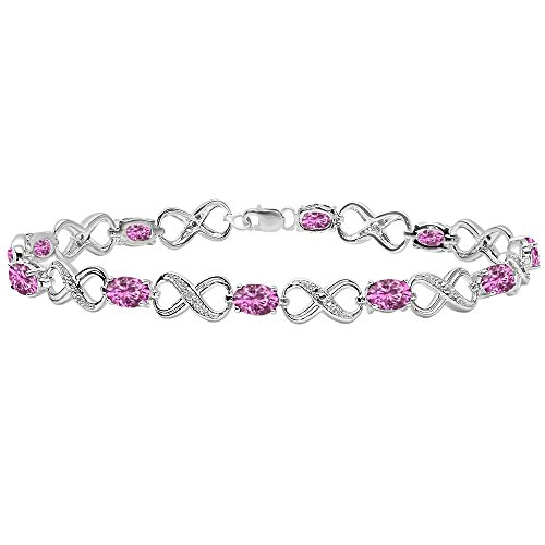 - Dazzlingrock Collection Each 6X4 MM Oval Lab Created Pink Sapphire & Round Diamond Infinity Link Bracelet, Sterling Silver