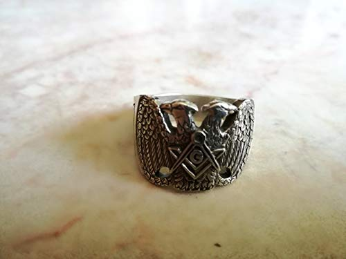 14k Scottish Ring - Masonic Ring - Scottish Rite 32nd degree Masonic ring | Double-headed Eagle of Lagash ring | Sterling Silver 925, Yellow, White, Rose Gold | Handmade| All sizes