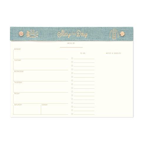 (DesignWorks Ink Cloth Undated Post Bound Weekly Planner, Seafoam Linen- Slay the Day)