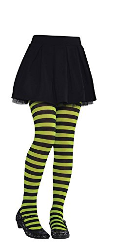 Amscan Green and Black Striped Kids Tights -