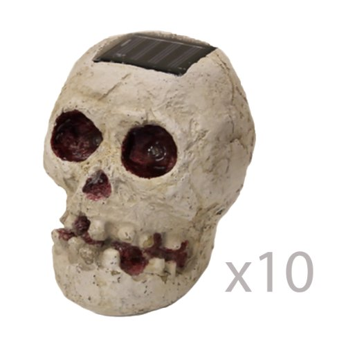 (10 Pack) SKULLar - Solar Powered Outdoor Halloween Skull Fright Light by Reusable Revolution