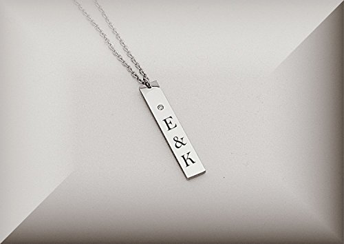 Personalized Stainless Steel Vertical Name Bar Nameplate Rhinestone Necklace Pendant Engraved Free