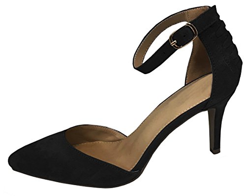 Heel Women's Cambridge Closed Black Pointed Pump Strappy Select Buckle Ankle Mid Toe HpR7q